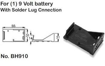 Single (1) 9 Volt, Plastic Battery Holder with Solder Lug Connection