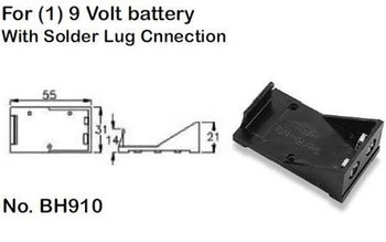 Single (1) 9 Volt, Plastic Battery Holder with Solder Lug Connection