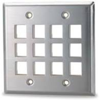 12-Port Double Gang Stainless Steel Faceplate