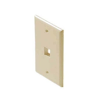 1 Port QuickPort Wall Plate Ivory Keystone Flush Mount, Easy Audio Video Data Junction Component Snap-In Insert Connection