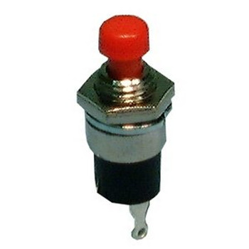 SPST, (OFF)-ON, Sub-Miniature Push Button 1A@125V, Black