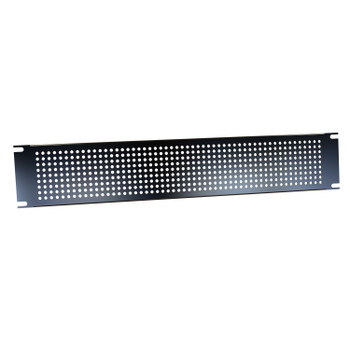 2U Perforated Steel Black Rack Panel