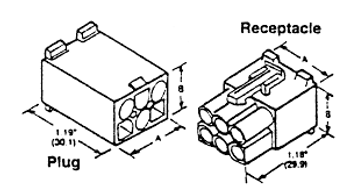 2-Circuit Panel Mount .093-in Plug Housing