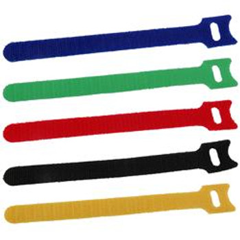 10-in. Hook/Loop Cable Ties Multi 10/pk