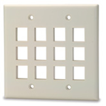 12-Port Double Gang Keystone Faceplate, Light Ivory