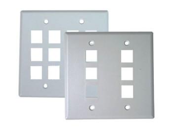 4 Port Double Gang Keystone Plate - White