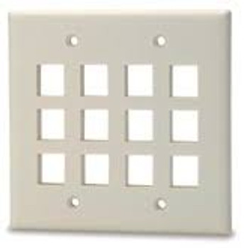 12-Port Double Gang Keystone Faceplate, White
