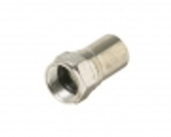 F Crimp Plug Connector with Long Attached Ring for RG-596/U Plenum