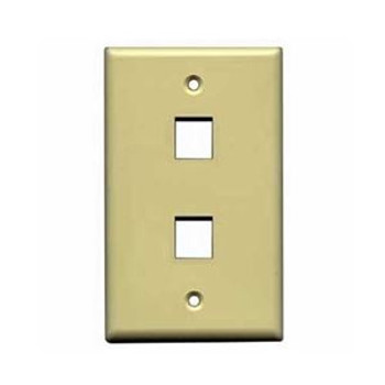 2-port Single Gang Wall Plate, Ivory