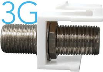 3GHz F-type Keystone Feed-thru - WHITE