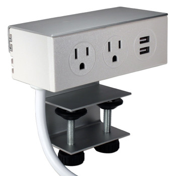 Deskmount Dual-Power Outlets with Dual-USB 2.1Amp Charger