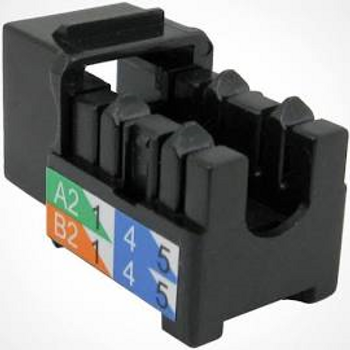 CAT5E Data Grade Keystone Jack, RJ45, 8×8, Black
