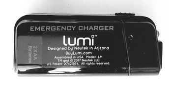 LUMi GO™ USB PowerBank, 2 x AA Battery, Black