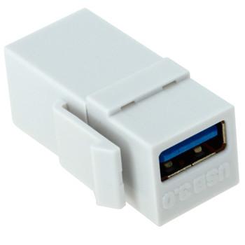 USB 3.0 A Female to A Female Keystone Jack - White