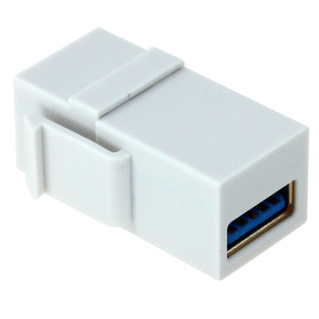 USB 3.0 A Female to A Female Keystone Jack - White