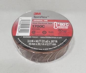 3M™ 3M1700C, Temflex™ Vinyl Electrical Tape 1700, Brown