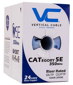 Bulk Cat 5e UTP Riser Cable, Black 1000' Box