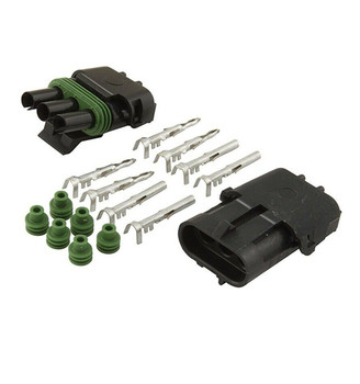 3-pin Weather Pack Sealed Connector Set, Male and Female