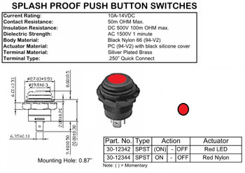 SPST, (ON)-OFF, Splash Proof Push Button Switch