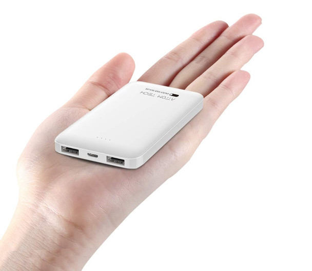 LUMi RECHARGE™ Dual Port USB LiPo 5000mAh Power Bank, White