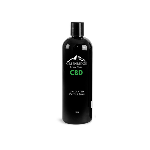 Bottle of liquid castile soap with CBD