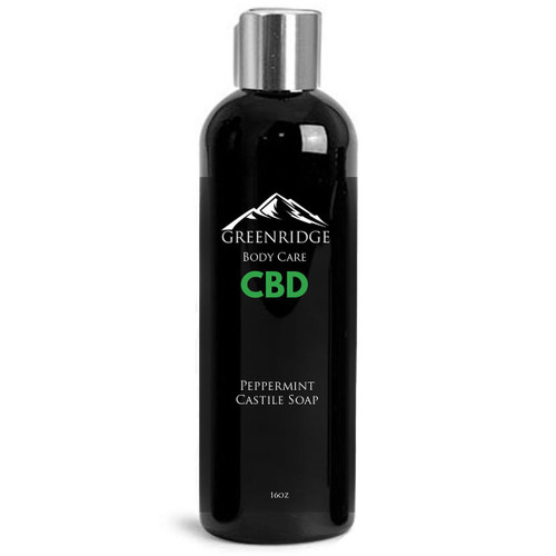 Front label of peppermint castile CBD soap