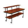 Mobile Buffet Table - Plywood Stained and Sealed - Three Level - Rectangle