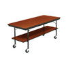Mobile Buffet Table - Plywood Stained and Sealed - Two Level - Rectangle