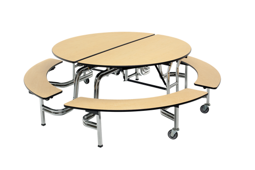 """Mobile Bench Table - Round 60"""" Diameter 4 Benches"""