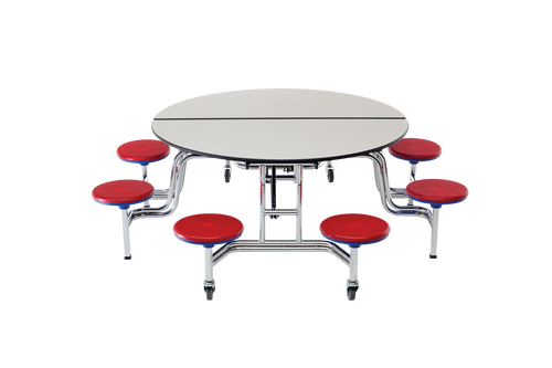 "Mobile Stool Table - Round 60"" Diameter 8 Stools"