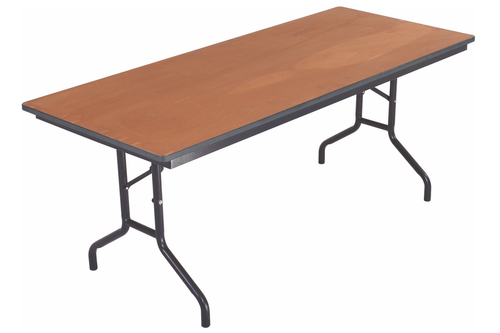Folding Table - Plywood Stained and Sealed - Rectangle - Vinyl T-Molding Edge