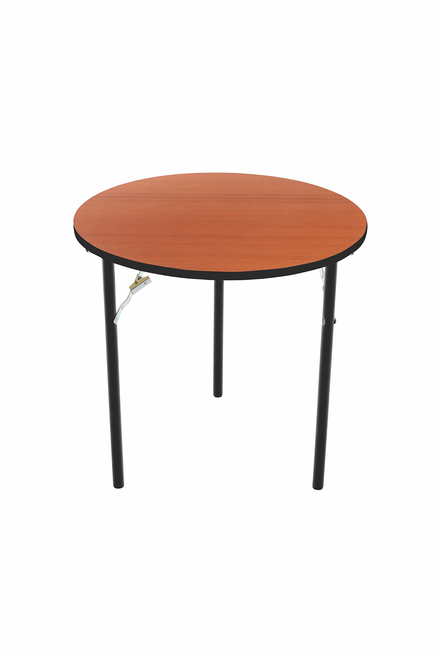 Folding Table - Plywood Stained and Sealed - Vinyl T-Molding Edge - Round
