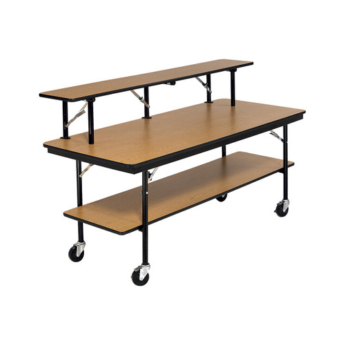 Mobile Buffet Table - Plywood Core - Three Level - Rectangle