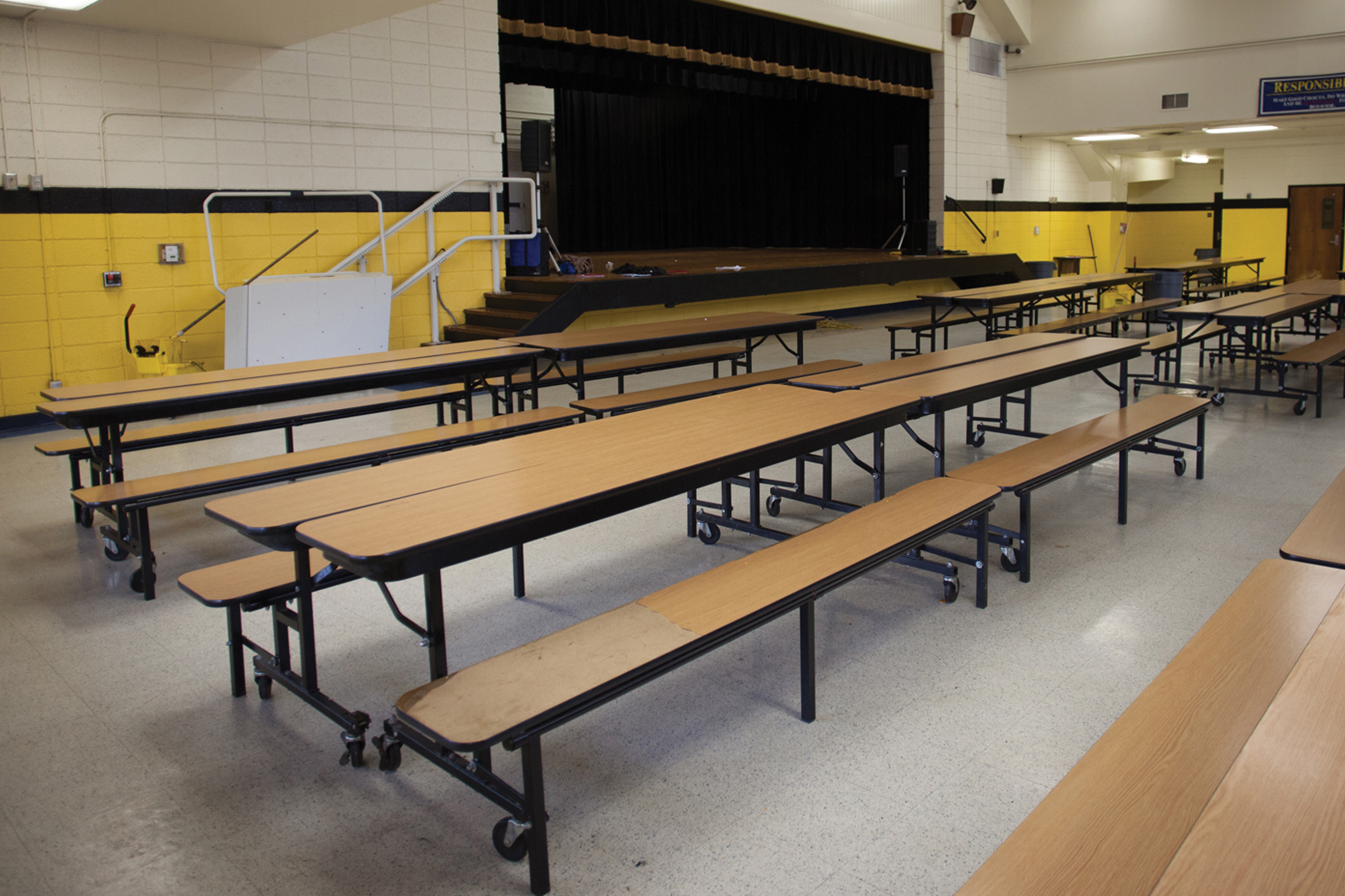 Standard foldable tables.