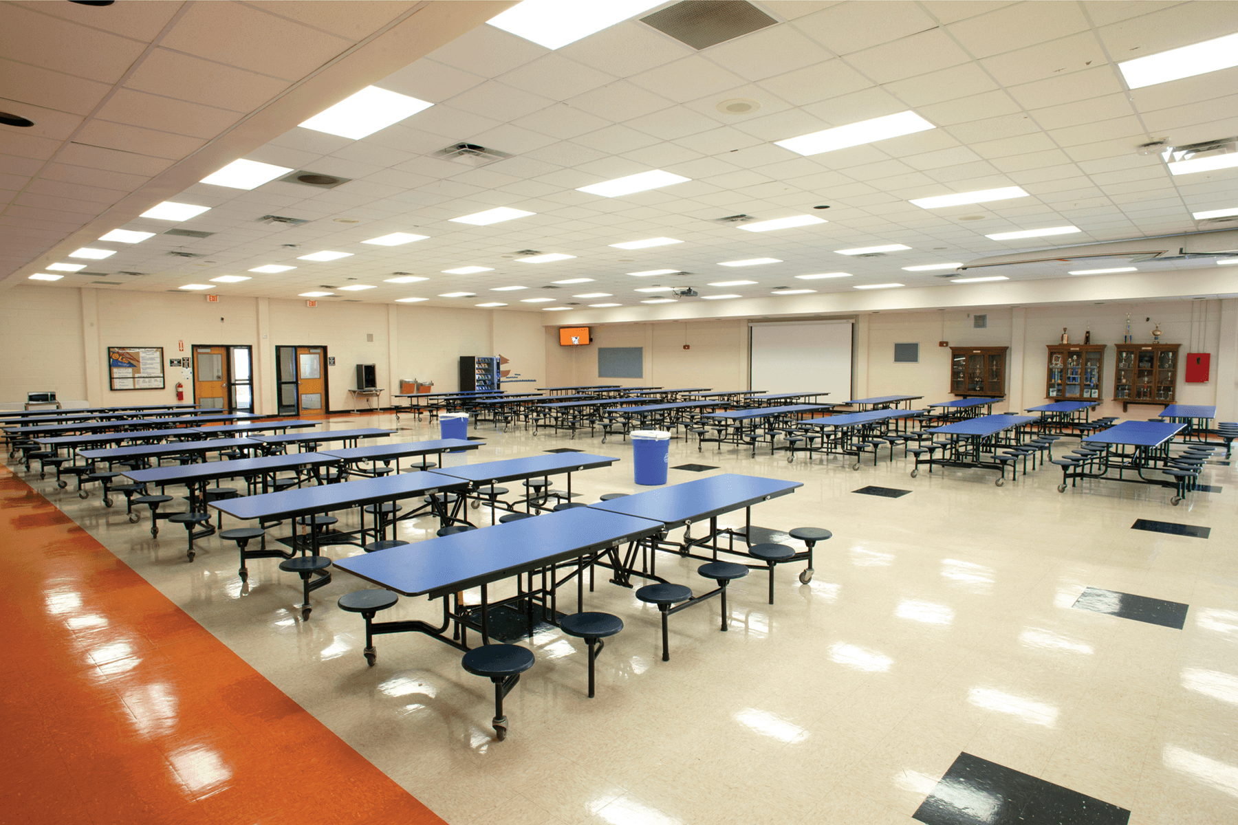 Standard blue colored rectangle shaped foldable lunch tables.