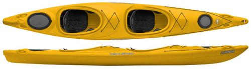 Wavesport Horizon Tandem Kayak, BlackOut with Rudder, Cyber Yellow