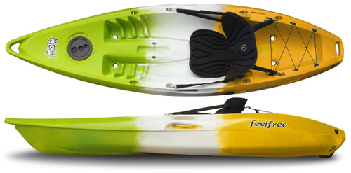 Feelfree Move Sit on Top Kayak for Kids and Smaller Adults, Lime/White/Sunrise