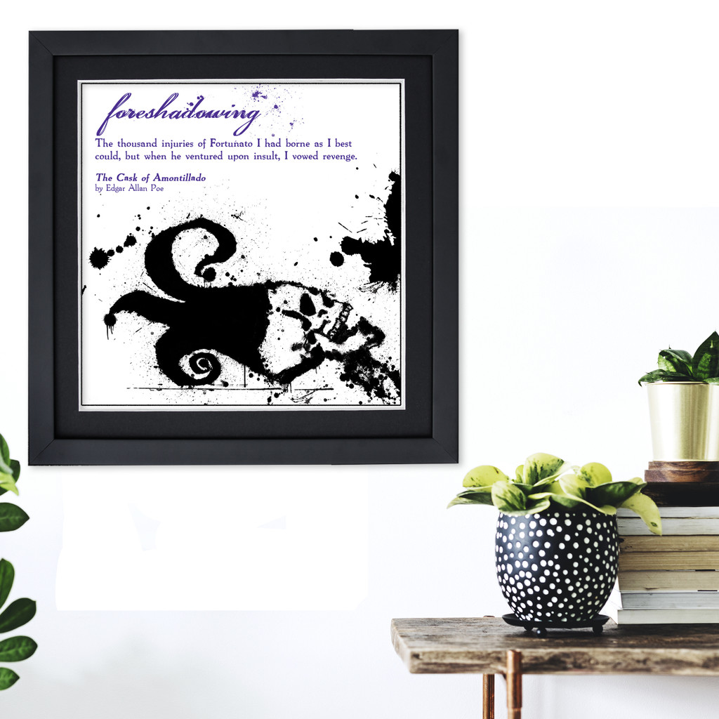 Literary Term, Foreshadowing, Black and White, Edgar Allan Poe Quote Poster. Available Plain Art Print, Laminated or Framed