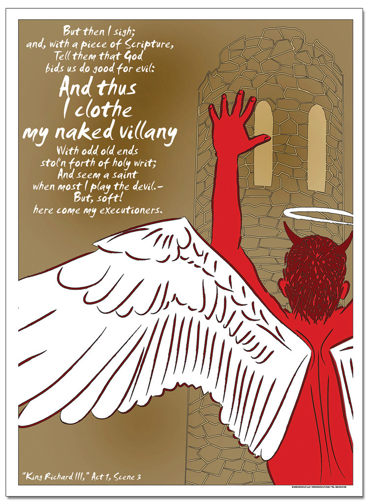 Naked Villany, Richard - Famous Shakespeare Quote Poster.  Fine Art Paper, Laminated, or Framed. Multiple Sizes for Home, Office, or School