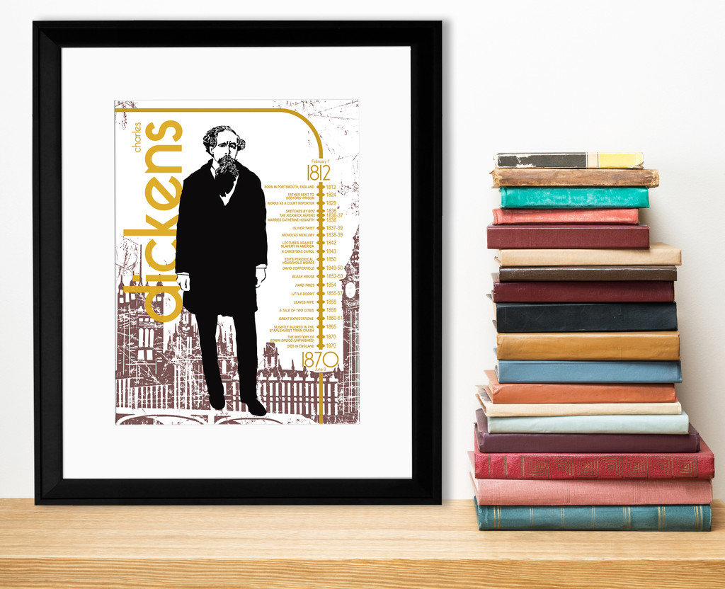 Charles Dickens Important Authors Literary Art Print. Educational English Classroom Poster. Fine Art Paper, Laminated, or Framed.