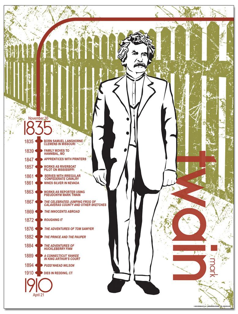 Mark Twain Literary Timeline Poster
