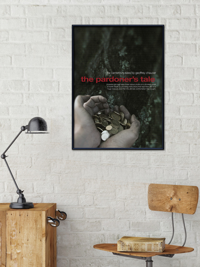 Pardoner's Tale, Canterbury Tales - Geoffrey Chaucer Literary Poster. Literary Art Print. Fine Art Paper, Laminated, or Framed. Multiple Sizes for Home, Office, or School