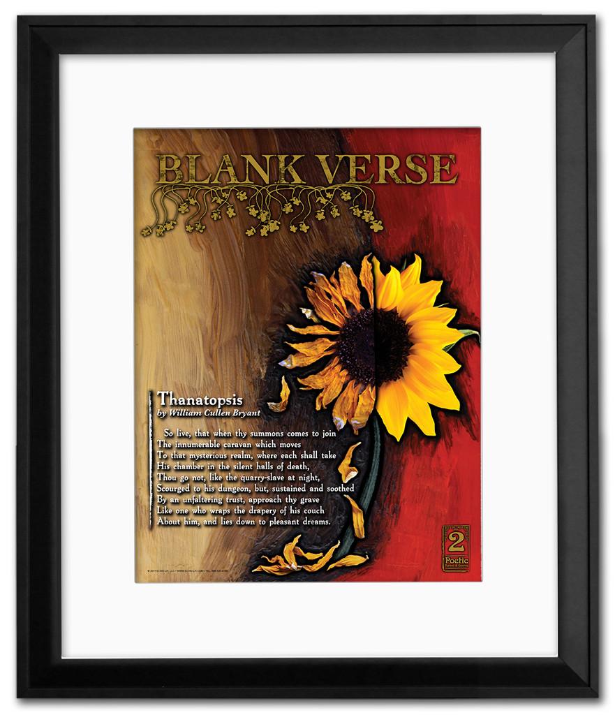 Blank Verse Literary Poster Framed