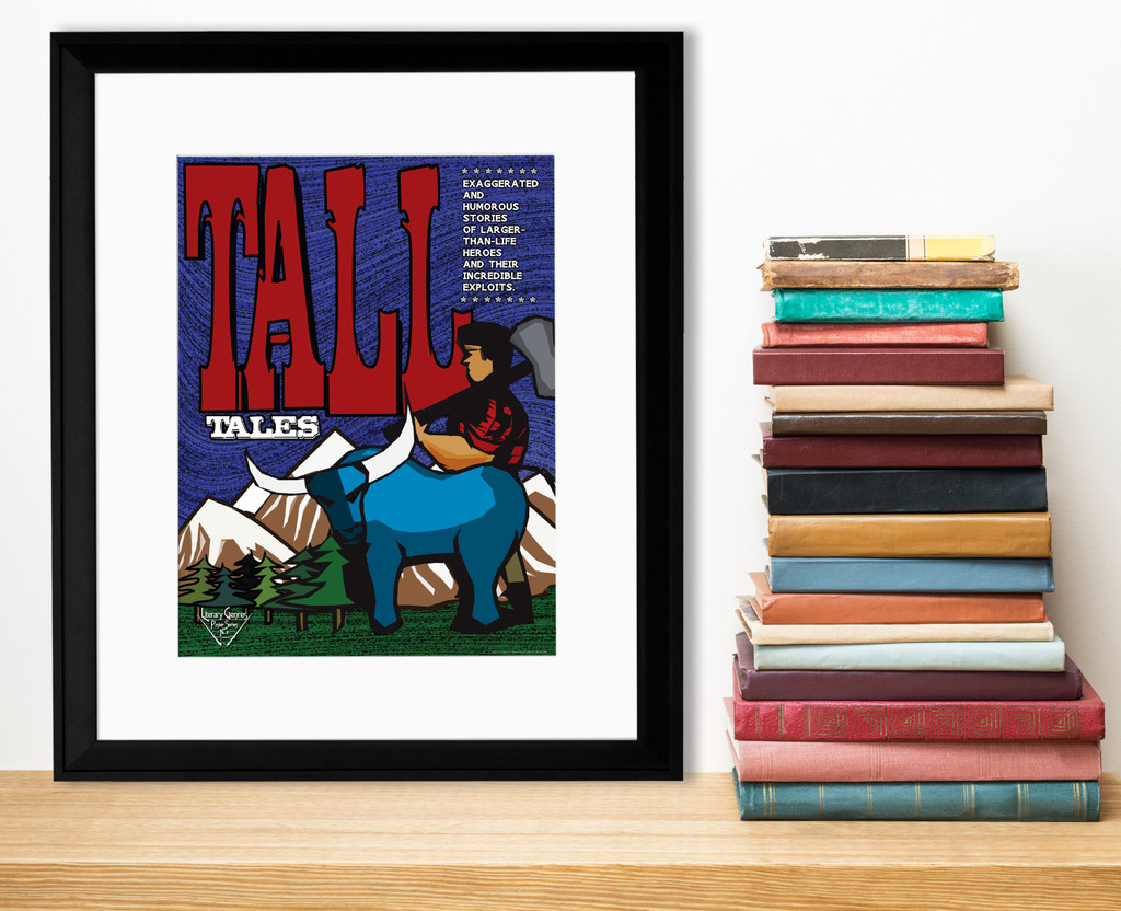 Tall Tales Literary Genre. Educational Classroom Poster. Fine Art Paper, Laminated, or Framed. Multiple Sizes