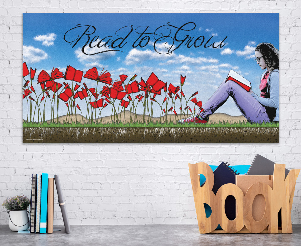 Read to Grow. Literary Art Print. Reading Motivational Poster. Available Heavy Matte Paper or Laminated.