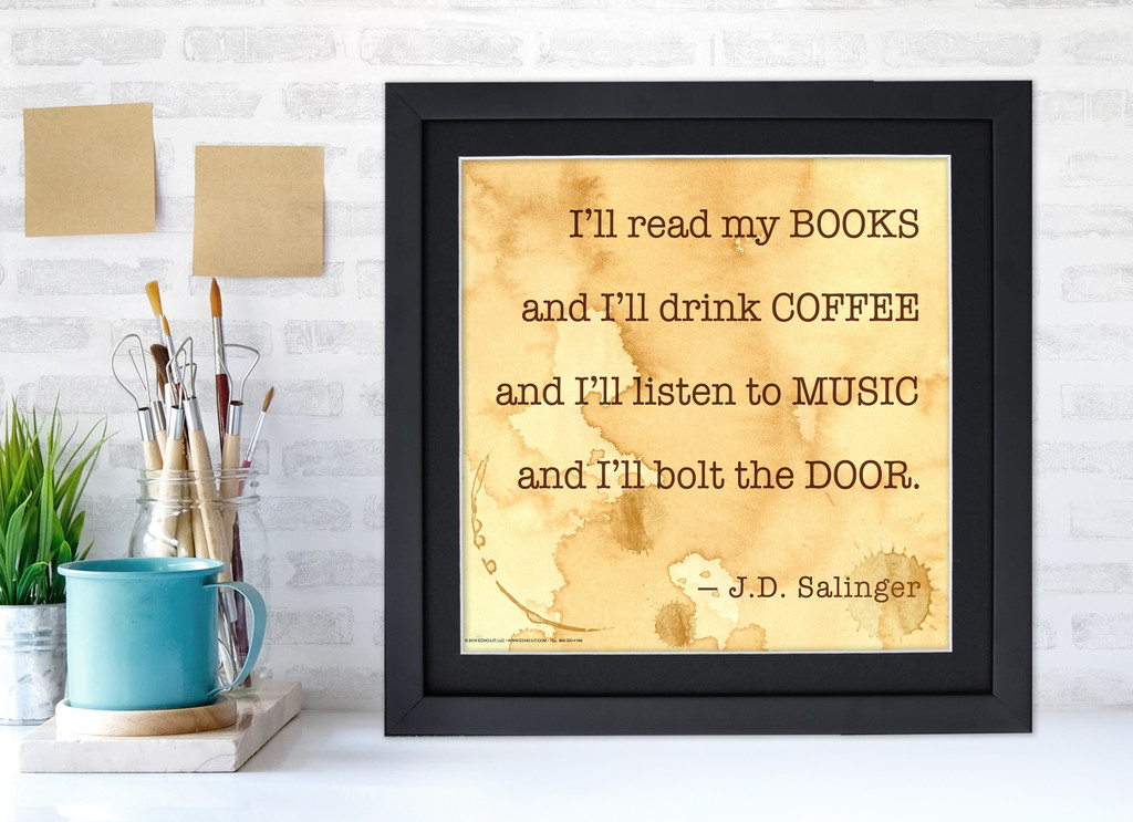 J.D. Salinger Classic Inspirational Quote, Motivational Art Print, I'll Read My Books. Vintage Style Literary Poster