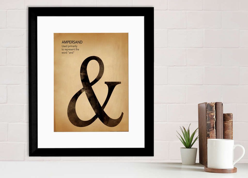 Ampersand, Writing, Punctuation and Grammar Art Print. Fine Art Paper, Laminated, or Framed. Multiple Sizes Available for Home or School.