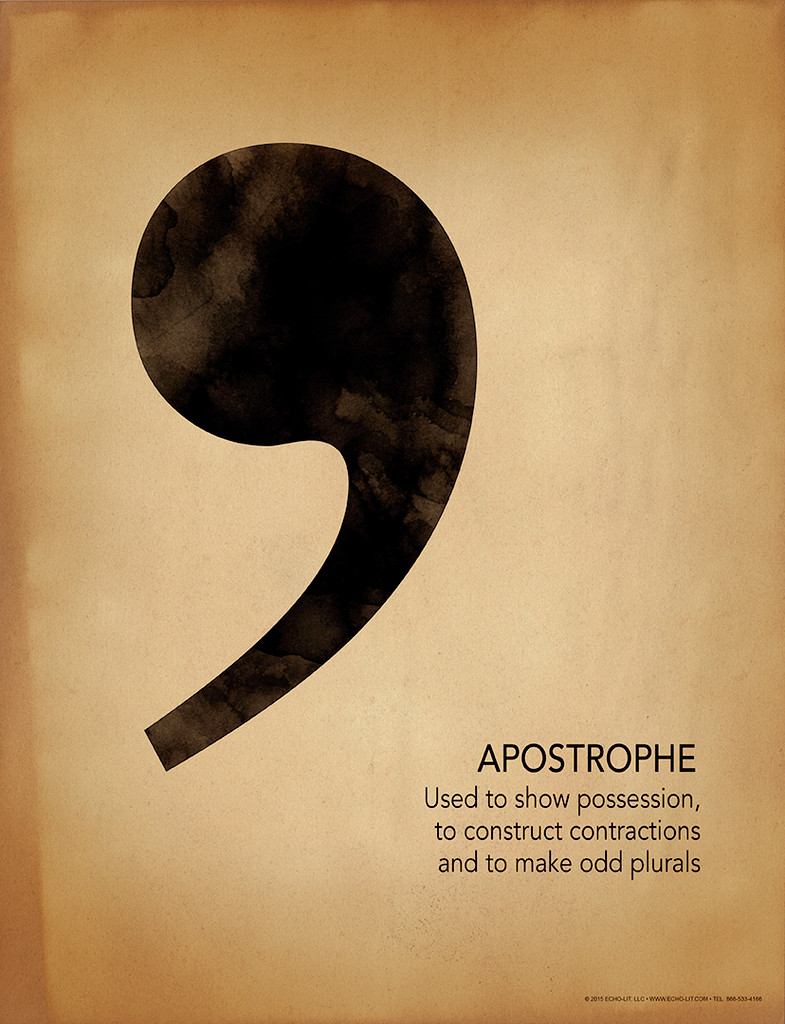 Apostrophe Grammar, Punctuation and Writing Poster. Fine Art Paper, Laminated, or Framed. Multiple Sizes Available for Home, Office, or School.