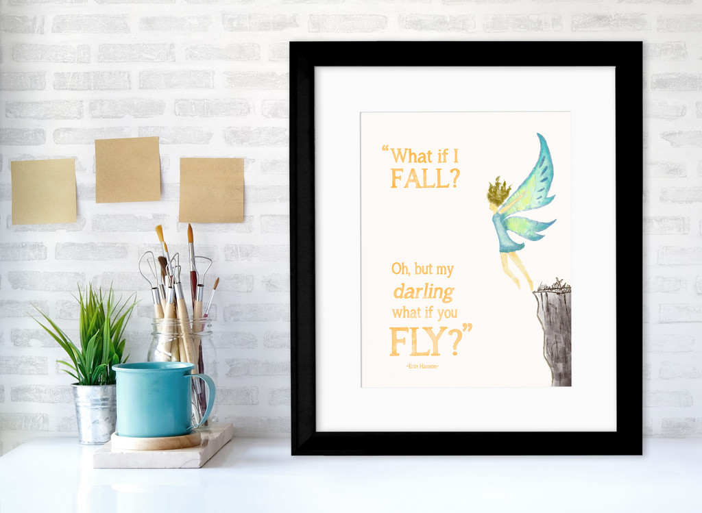 What If I Fall? Children's Literary Quote Print. Fine Art Paper, Laminated or Framed. Multiple Sizes
