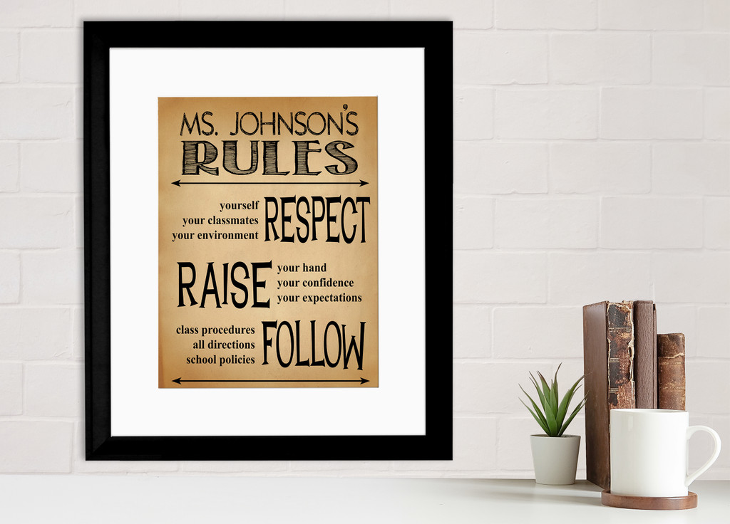 Classroom Rules Personalized Art Print. Teacher Gift for Elementary, Middle, or High School. Fine Art Paper, Laminated, or Framed.